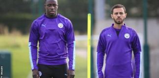 Manchester City's Benjamin Mendy (left) and Bernardo Silva