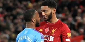Joe Gomez and Raheem Sterling during Sunday's Premier League match at Anfield