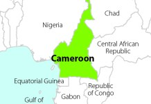 Map of Cameroon highlighted