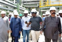 L-R: Kebbi State Governor, Alhaji Atiku Bagudu; President of Dangote Group, Alhaji Aliko Dangote; Lagos State Governor, Mr. Babajide Sanwo-Olu; Ekiti State Governor, Dr. Kayode Fayemi and Group Executive Director, Dangote Group, Mr. Devakumar Edwin during an inspection tour of the Dangote Refinery at the Lekki Free Trade Zone, Lagos, on Friday, December 20, 2019. Lagos Free Zone