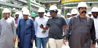 L-R: Kebbi State Governor, Alhaji Atiku Bagudu; President of Dangote Group, Alhaji Aliko Dangote; Lagos State Governor, Mr. Babajide Sanwo-Olu; Ekiti State Governor, Dr. Kayode Fayemi and Group Executive Director, Dangote Group, Mr. Devakumar Edwin during an inspection tour of the Dangote Refinery at the Lekki Free Trade Zone, Lagos, on Friday, December 20, 2019. Lagos Free Zone