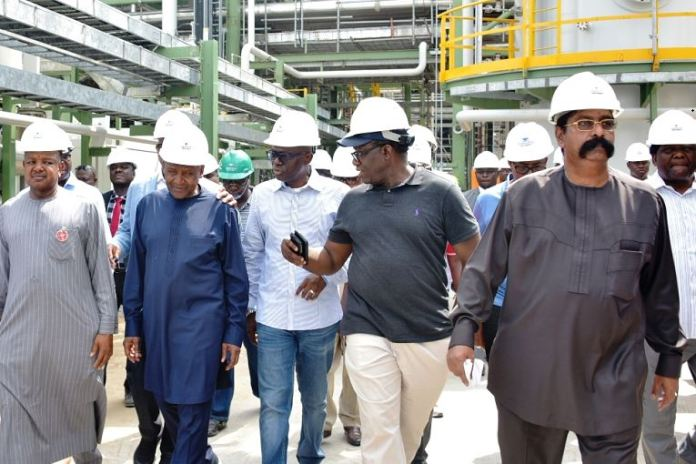 L-R: Kebbi State Governor, Alhaji Atiku Bagudu; President of Dangote Group, Alhaji Aliko Dangote; Lagos State Governor, Mr. Babajide Sanwo-Olu; Ekiti State Governor, Dr. Kayode Fayemi and Group Executive Director, Dangote Group, Mr. Devakumar Edwin during an inspection tour of the Dangote Refinery at the Lekki Free Trade Zone, Lagos, on Friday, December 20, 2019.