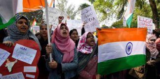 Student protesters near Jamia Millia Islamia in Delhi over new citizenship law