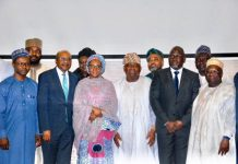 Finance Minister, Zainab Ahmed,(3rd left front) at the ceremony to inaugurate FIRS Board