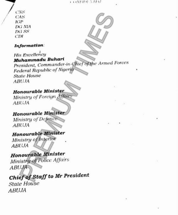 Memo to President Muhammadu Buhari by Babagana Monguno on Abba Kyari's interference