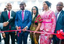L-R: Tony O. Elumelu, CON, Chairman, Heirs Holdings and UBA Group Plc; Mr. Babajide Sanwo-Olu, Governor of Lagos State; Uzo Oshogwe, CEO, Afriland Properties Plc; Dr. Awele Elumelu, Chairperson, Avon Healthcare; Emmanuel Nnorom, CEO, Heirs Holdings; at the commissioning of the Afriland Towers