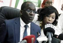 Senegal Health's minister Ablaye Diouf Sarr speaks during a press conference on March 2, 2020