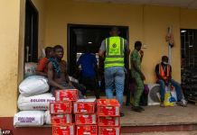 Food aid at a Lagos warehouse during lockdown