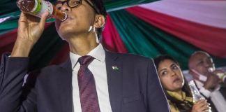 President Andry Rajoelina of Madagascar drink the coronavirus cure during a presentation