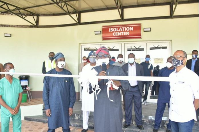 L-R: Dr. Tope Oguniyan; Lagos State Deputy Governor, Dr. Obafemi Hamzat; Governor Babajide Sanwo-Olu and Commissioner for Health, Prof. Akin Abayomi during the opening of Isolation Centre for the Coronavirus treatment at the Gbagada General Hospital, on Friday, May 1, 2020.