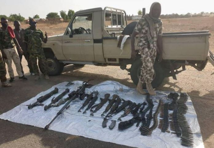 Some of the weapons and ammunitions recovered from Boko Haram fighters