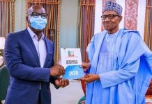 Governor Godwin Obaseki presents his APC governorship form to President Muhammadu Buhari at Aso Rock