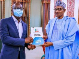 Governor Godwin Obaseki and President Muhammadu Buhari at Aso Rock on Monday