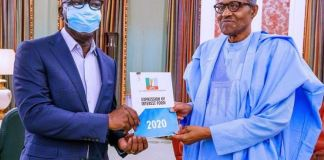 Governor Godwin Obaseki presents his APC governorship form to President Muhammadu Buhari at Aso Rock