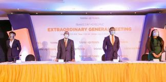 L-R: Managing Director/CEO of Transcorp Hotels Plc, Dupe Olusola; Chairman, Mr. Emmanuel N. Nnorom; Company Secretary (Ag.), Chike Anikwe and President/CEO of Transcorp Plc, Owen Omogiafo at Transcorp Hotels' Extraordinary General Meeting held in Lagos on Monday.