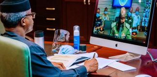 Vice President Yemi Osinbajo SAN received a virtual presentation on Border Management and National Development by the yearly National Defence College Participants of Course 28
