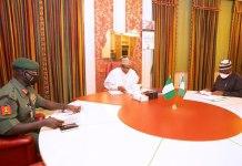 President Muhammadu Buhari, Chief of Army Staff, Tukur Buratai and Chief of Staff to the President, Ibrahim Gambari