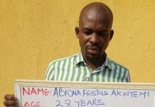 Abiona Festus Akinyemi was wanted by the EFCC in Lagos