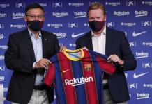Barcelona's new manager Ronald Koeman unveiled at a press conference on Wednesday