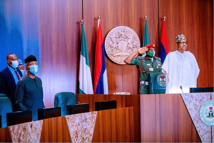 President Muhammadu Buhari and Vice President Yemi Osinbajo attend the National Security Council meeting northeast