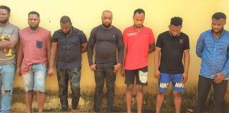 The seven internet fraudsters arrested by EFCC
