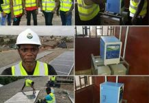 Lateef Adewole and his team after inverter installation humanity