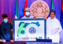 Vice President Yemi Osinbajo, SGF Boss Mustapha and President Muhammadu Buhari unveiling the Nigeria At 60 independence logo