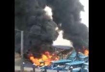 BRT buses burnt at the Oyinbo terminal in Lagos, Nigeria