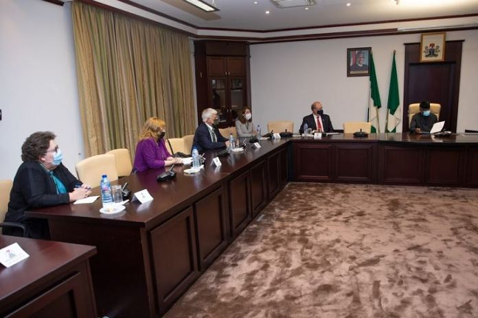Counselor T. Ulrich Brechbühl meets with Vice President Yemi Osinbajo at the Aso Rock