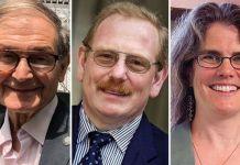 L-R: Roger Penrose, Reinhard Genzel, Andrea Ghez has won the Nobel Prize in Physics