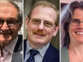 L-R: Roger Penrose, Reinhard Genzel, Andrea Ghez has won the Nobel Prize in Physics