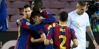 Lionel Messi (who has 116 Champions League goals) congratulates Pedri (who now has one)