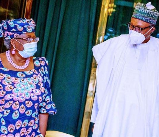 Ngozi Okonjo-Iweala and President Muhammadu Buhari at the Aso Villa on Monday