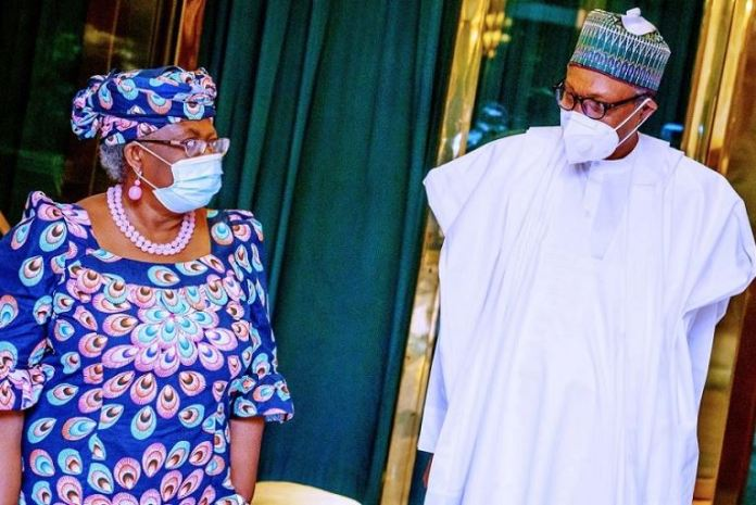 Ngozi Okonjo-Iweala and President Muhammadu Buhari at the Aso Villa on Monday