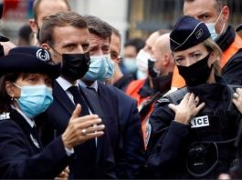 President Macron (third from left) has promised a crackdown on Islamic extremism in France