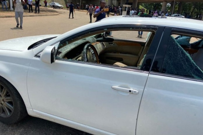 ProSARS protesters allegedly vandalized vehicles at Berger, Abuja