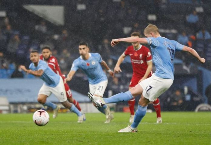 Kevin De Bruyne missed from the penalty spot
