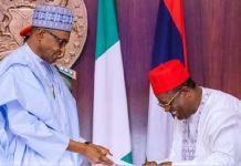 President Muhammadu Buhari has welcomed Governor Dave Umahi to the APC