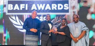 L-R: Head of Media and Media Relations, UBA Plc, Ramon Nasir; Deputy Managing Director, United Bank for Africa, Liadi Ayoku, President, Nigerian Institute of Taxation, Dame Gladys Olajumoke Simplice; and Managing Director, BusinessDay Newspapers. Mr Ogho Okiti at the BusinessDay Bank and other Financial Institutions Award (BAFI) where UBA won Bank of the Year and International Bank of the Year Awards, held in Lagos at the weekend.