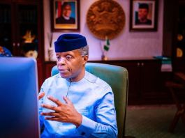 Vice President Yemi Osinbajo urging Huawei Nigeria to give more young Nigerians jobs