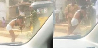 A soldier strips a lady naked for allegedly dressing indecently Indecent Dressing
