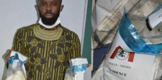 Nigerian groom, Elechi Adendu Kingsley was arrested for smuggling cocaine into Nigeria from Brazil