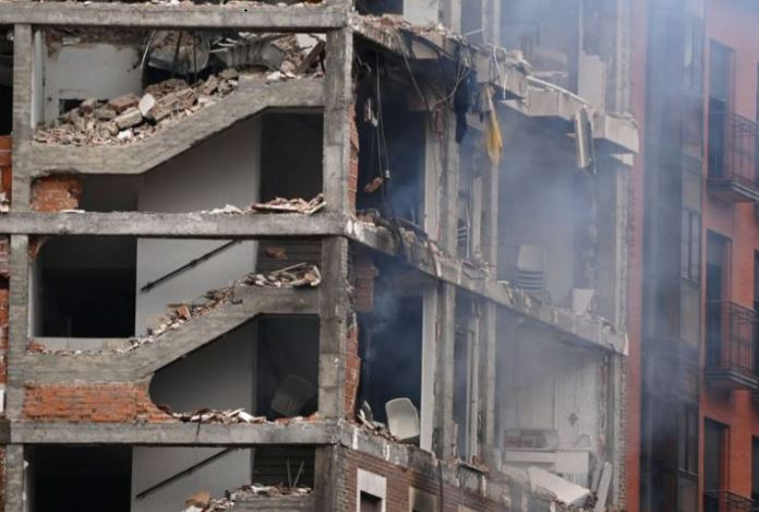 An explosion in Madrid has collapsed a building