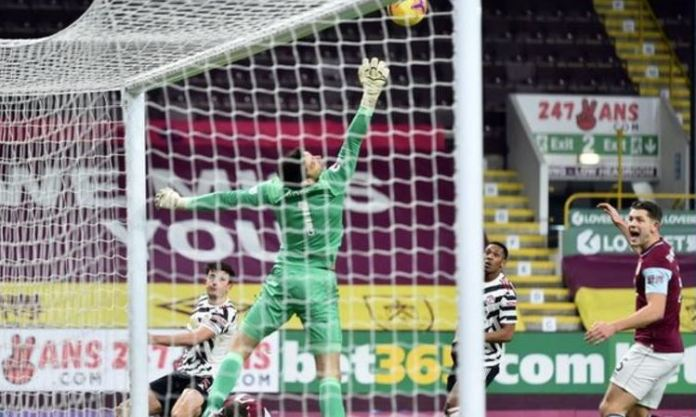 Manchester United's Harry Maguire has a goal disallowed against Burnley