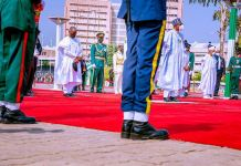 President Muhammadu Buhari and Vice President Yemi Osinbajo lay wreaths as they pay respect to Nigeria Armed Forces