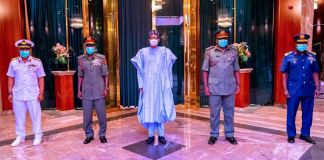 President Muhammadu Buhari with the new Service Chiefs Senate