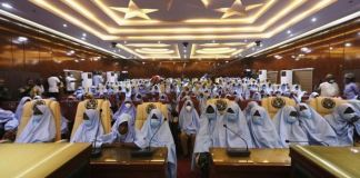 Abducted Zamfara schoolgirls in the State Government House in Gusau