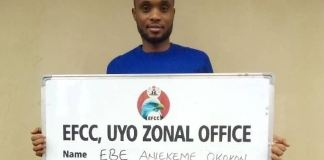 EFCC secured the sentencing of Ebe Aniekeme Okokon for fraud