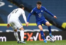 Chelsea's Kai Havertz played as number 9 for most of the game but could not find the back of the net
