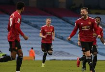 Man Utd celebrates victory against Man City